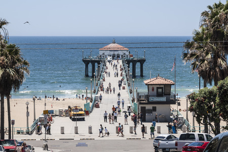 Manhattan Beach California USA  July 13 2010:  Summer crowds visiting the popular Manhattan Beach Pier in the South Bay region of Los Angeles County.