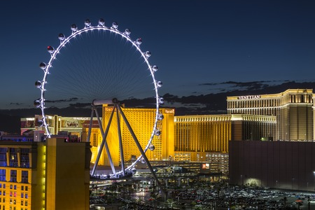 Las Vegas, Nevada, USA - June 10, 2015:  Casino hotel resorts and High Roller Ferris Wheel on the Las Vegas strip. Editorial