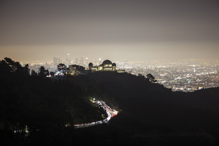 smog: Night fog and smog descending on Griffith Park and downtown Los Angeles.