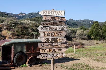 state park: Malibu, California, USA - February 26, 2012:  Old Mash movie set sign on display at Malibu Creek State Park in Southern California. Editorial