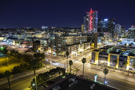 San Diego, California, USA - March 22, 2011:  Clear night sky above modern buildings in downtown San Diego. Editorial