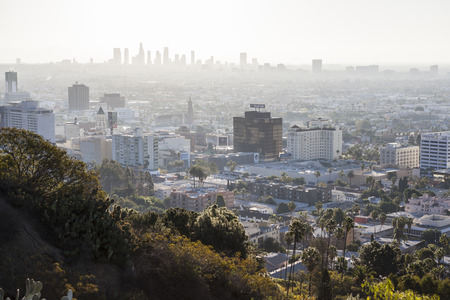 smog: Hollywood, California, USA - January 1, 2015:  Smoggy haze filled morning sky above Hollywood and downtown Los Angeles in Southern California. Editorial