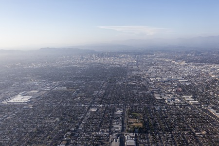 watts: Downtown Los Angeles smoggy sky aerial. Stock Photo