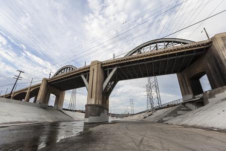 6th street bridge and Los Angeles river near downtown LA.