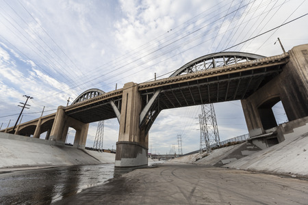 6th street bridge and Los Angeles river near downtown LA.