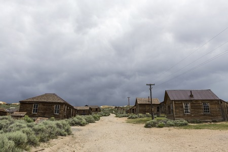 mammoth lakes: Summer storm clouds above Bodie ghost town near Mammoth Lakes California.