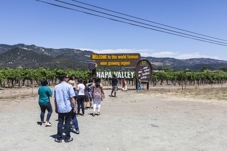 napa valley: Napa, California, USA - July 4, 2015:  Crowd of summer holiday tourists line up for photos at the Napa Valley welcome sign.