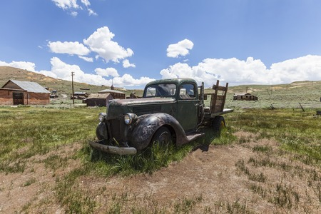 mammoth lakes: Bodie, California, USA - July 6, 2015:  Abandoned pickup truck at Bodie State Historic Park near Mammoth Lakes, California. Editorial