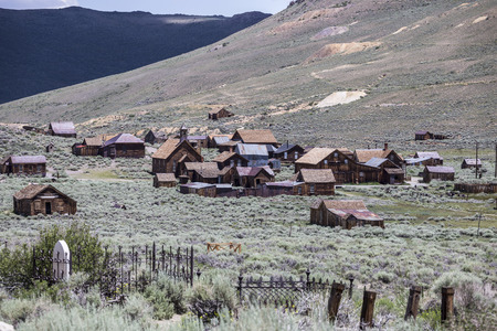 west: View of Bodie wild west ghost town at Bodie Historic State Park in California.