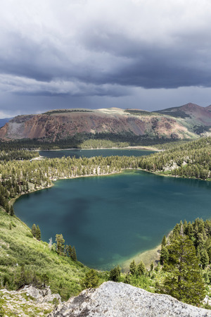 mammoth lakes: Summer thunderstorm above Lake Mary and Lake George in Californias Sierra Nevada Mammoth Lakes. Stock Photo