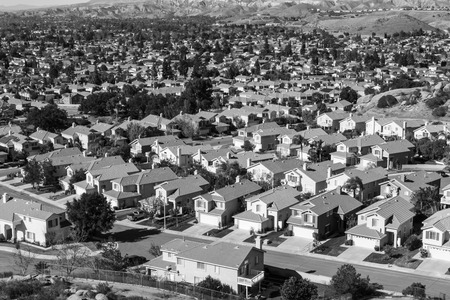 suburb: Southern Californian suburb near Los Angeles in black and white. Stock Photo