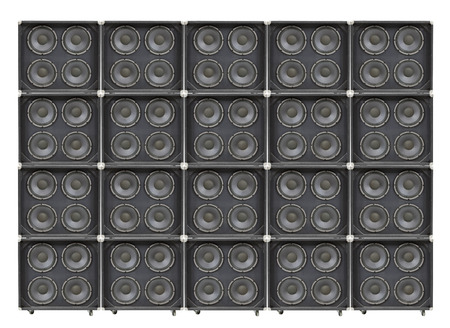 Giant wall of vintage bass speakers.