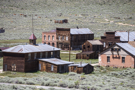 western town: Bodie ghost town buildings at Bodie State Historic Park in California.