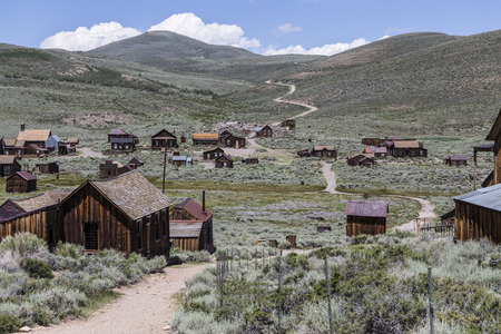 Bodie wild west ghost town at Bodie State Historic park in California's Sierra Nevada Mountains.