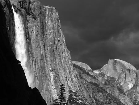 half dome: Yosemite Falls and Half Dome in black and white.