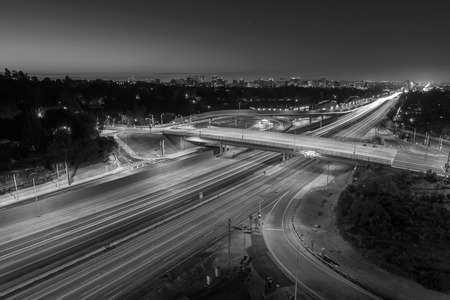 time lapse: San Diego 405 Freeway black and white in Los Angeles, California.