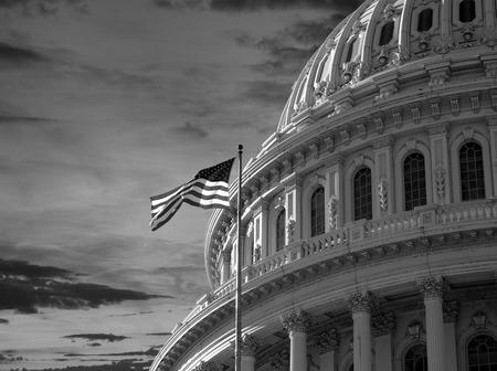 미국 국회 의사당 건물 돔 워싱턴 DC에서 일몰 하늘.