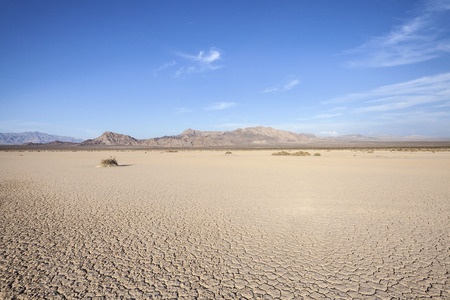 Dry mud flat lake bed near Death Valley in Californias Mojave desert.