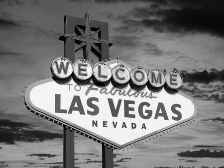 Welcome to Las Vegas sign in black and white. Stock Photo