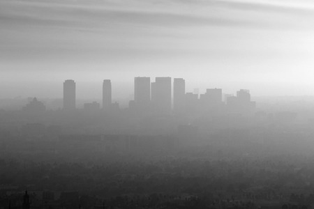 Smoggy black and white view of Century City, Beverly Hills and West Los Angeles.