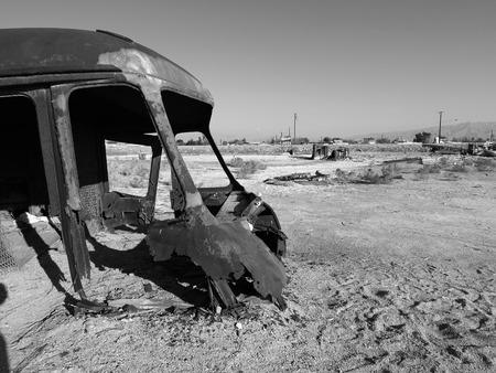 Lost civilization near Californias Salton Sea in black and white.