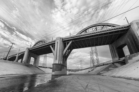 river: 6th street bridge and Los Angeles river near downtown LA.