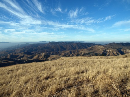 rocky peak: View towards Rocky Peak from Oat Mountain in Chatsworth California. Stock Photo