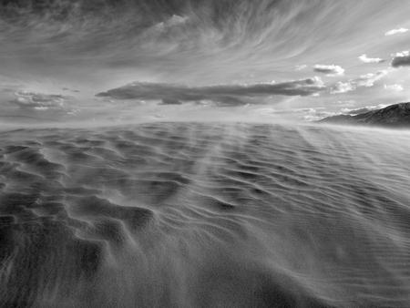 Black and white sandstorm in the Mojave desert. Reklamní fotografie