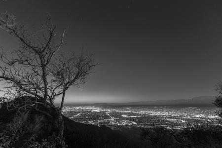 burbank: Mountain top night view of Burbank and North Hollywood, California. Stock Photo