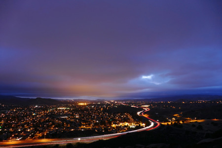 los angeles county: Cloudy night in suburban Simi Valley near Los Angeles, California.