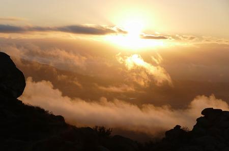 san fernando valley: Porter Ranch sunrise in the San Fernando Valley area of Los Angeles, California. Stock Photo
