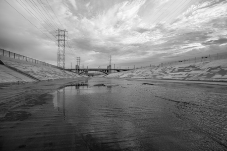 river: The gritty Los Angeles river in black and white. Stock Photo