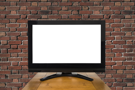 high definition television: Modern television with red brick with cut out screen.