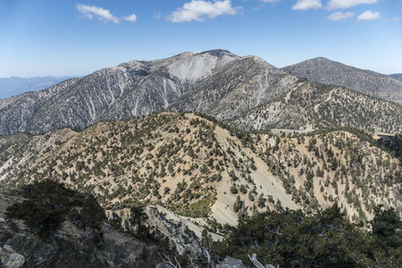 los angeles county: View of the 10068 foot Mt Baldy summit.  The highest peak in Los Angeles County California.