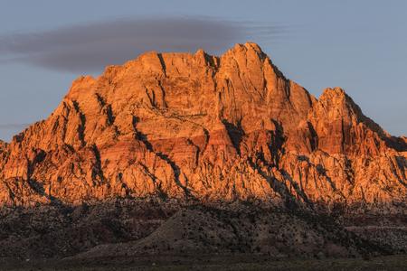 red rock national conservation area: Dawn light on Mt Wilson in Red Rock National Recreation Area near Las Vegas, Nevada.