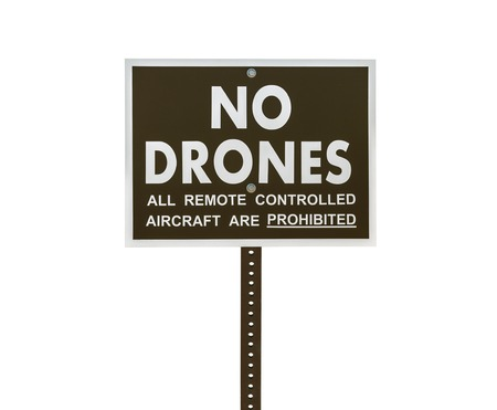 remote controlled: No drones all remote controlled aircraft are prohibited sign isolated. Stock Photo