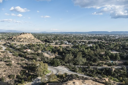 stoney point: Clear smog free fall afternoon in the San Fernando Valley area of Los Angeles. Stock Photo
