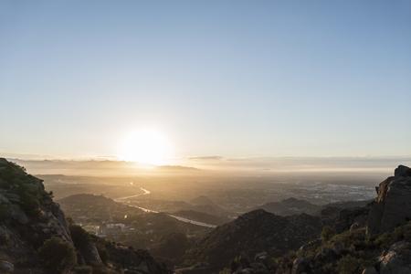 northridge: San Fernando Valley mountaintop sunrise view in Los Angeles, California. Stock Photo