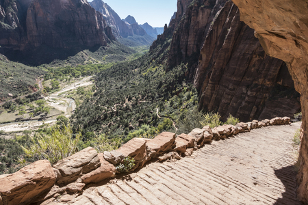 zion: Canyon view portion of the famous Angels Landing trail in Zion National Park.