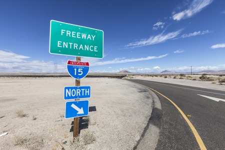 15: Interstate 15 on ramp sign in the California Mojave desert. Stock Photo