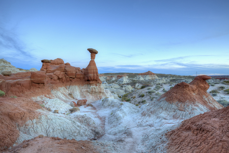 hoodoo: The Toadstools hoodoo rock formation after sunset in Southern Utah. Stock Photo