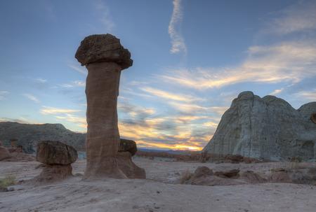 hoodoo: Hoodoo sunset at the Toadstools rock formation in Southern Utah. Stock Photo