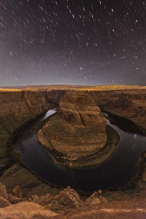 page arizona: Night exposure of Horseshoe Bend on the Colorado River near Page, Arizona.