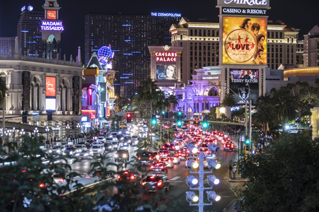 Las Vegas, Nevada, USA - October 10, 2015:  Night weekend traffic on the Las Vegas Strip. Editorial