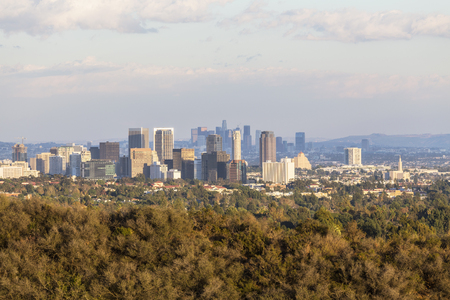 west hollywood: Century City and downtown Los Angeles in late afternoon light. Stock Photo