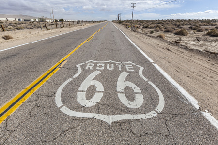 barstow: Old route 66 pavement sign in the Mojave desert.