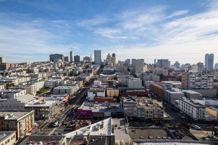 San Francisco, California, USA - January 15, 2013:  Clear sky view towards Nob Hill and downtown San Francisco.