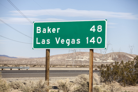 barstow: Las Vegas 140 miles highway on I-15 near Barstow in California. Stock Photo
