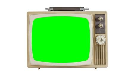 Vintage televisie op wit met chroma key groen scherm. Sized naar 4096 x 2304 4k video dimensie.