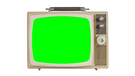 vintage television: Vintage television on white with chroma key green screen.  Sized to 4096 x 2304 4k video dimension. Stock Photo